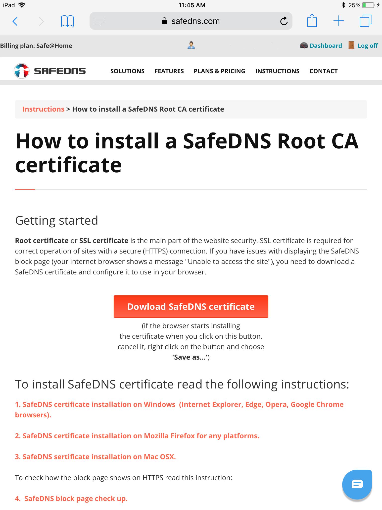 Dowload SafeDNS certificate